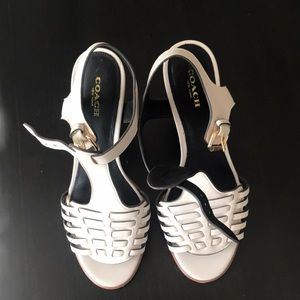 Coach off white leather sandals